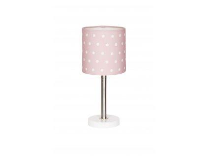 Stolní dětská lampička pro holčičky - Růžová s puntíky v příjemné pastelově růžové barvě