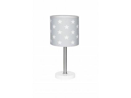 Barevně neutrální, snadno kombinovatelná a moderní dětská stolní lampička - Šedá s hvězdičkami