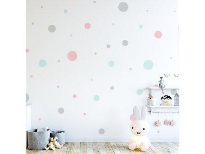 Interiérové samolepy - pastelové puntíky v různých velikostech