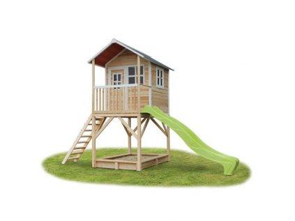 Menší zahradní domeček pro děti na nožkách s pískovištěm a skluzavkou