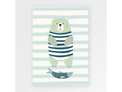 Plakát medvěd rybář
