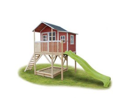Krásný a velký zahradní domeček pro děti na nožkách se skluzavkou a pískovištěm
