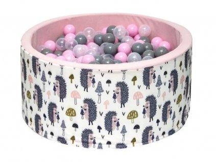 Krásný holčičí suchý bazének s barevnými míčky s motivem roztomilého ježečka