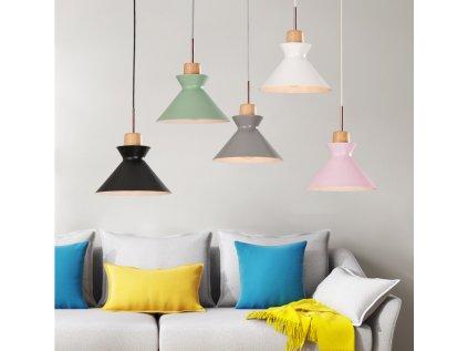 stylový lustr do dětského pokoje se zvonovým stínítkem - různé barevné varianty