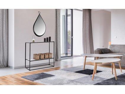 jednoduchý a stylová regál se dvěma poličkami na dekorace a drobnosti