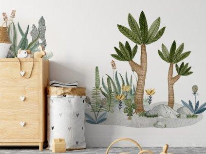 Samolepka na stěnu dětského pokoje pravěké rostliny