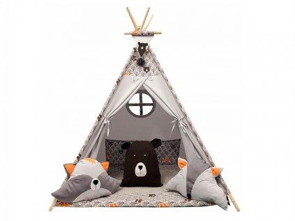 Roztomilý dětský týpí (teepee) s lesními zvířátky