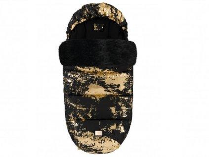 Teplý zimní fusak do kočárku černý se zlatou