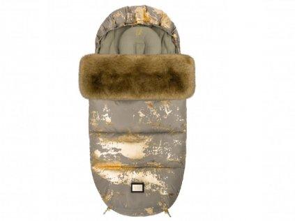 Úžasný zimní fusak do kočárku v neutrální khaki a zlaté barvě