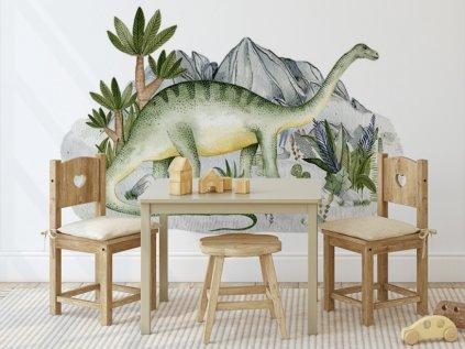 velká nálepka na zeď pravěk - Brontosaurus