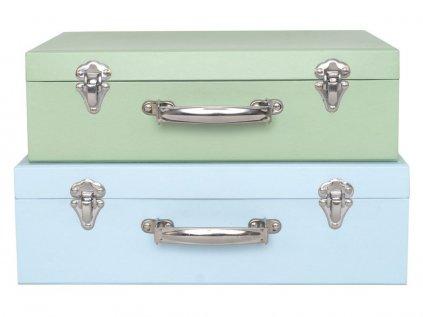 Dva krásné kufříky pro holčičky i kluky v modré a zelené barvě