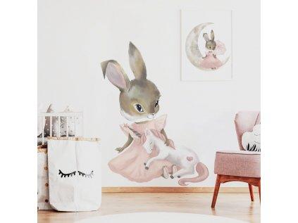 samolepka roztomilý králíček s jednorožcem