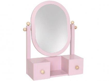 Dřevěné růžové kosmetické zrcadlo pro parádivé holčičky