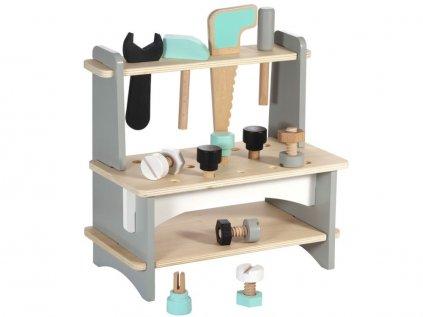 Dětský dřevěný pracovní stoleček s nářadím