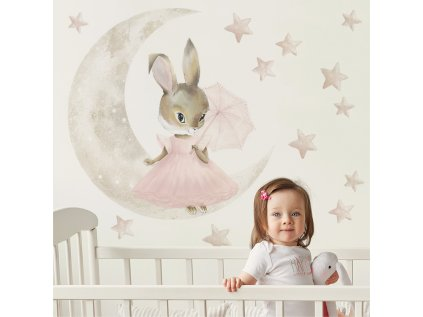 králíček měsíček a hvězdičky v sadě dětských nálepek na zeď