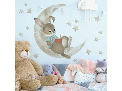 dětská samolepka králičí chlapeček a měsíček