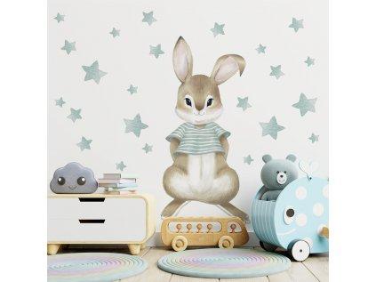 dětská nálepka chlapeček králíček s hvězdičkami