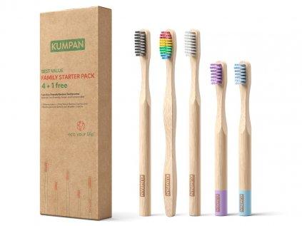 Výhodná rodinná sada kartáčků na zuby z bambusu pro děti i rodiče