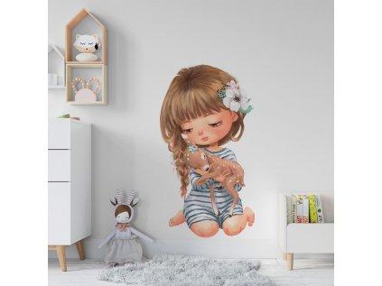 dětská nálepka na zeď holčička s kolouškem