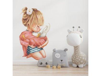 dětská samolepka na stěnu holčička s husou