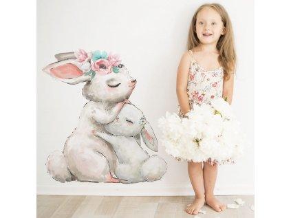 samolepka do dětského pokoje králíček a maminka