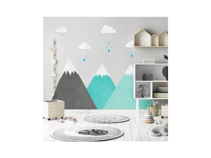 Nálepka na zeď hory pod mraky mátová