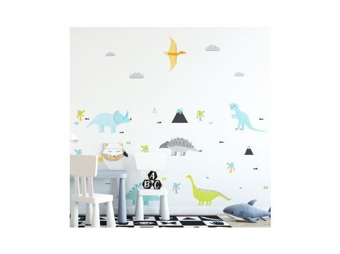 Nálepka na zeď pasteloví dinosauři