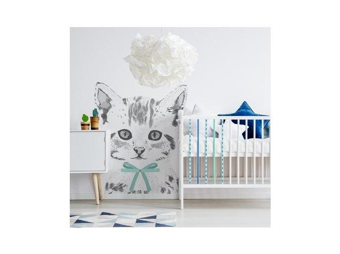 Stylová samolepka na zeď s kočkou bude ozdobou dětského pokoje. Osobitý design najde uplatnění v každém interiéru.