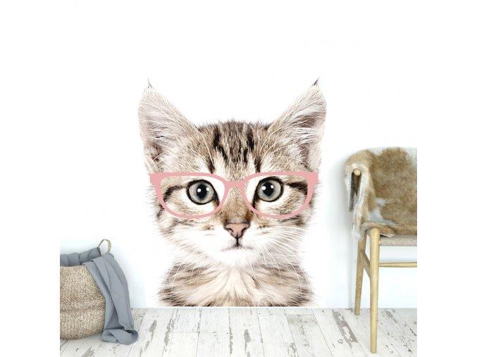 Designovou nástěnnou samolepku s koťátkem v brýlích lze v dětském pokoji využít i jako netradiční fototapetu.