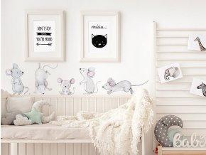 Nálepka na zeď zvířátka myší rodinka 2