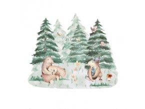 Nálepka na zeď zvířátka usínání v lese s medvědy