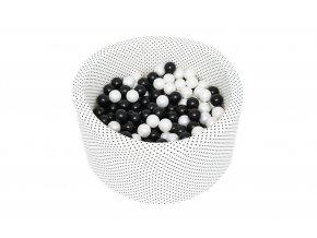 suchý bazének s sbarevnými balonky bílý černé tečky