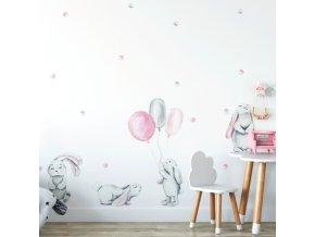 Nálepka na zeď pasteloví králíčci