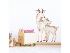 Nálepka na zeď jelen s mláďátkem