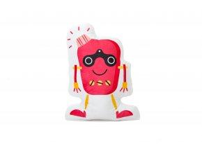 Designový polštářek ve tvaru postavičky robota s potiskem bude dělat vašemu děťátku milou společnost v postýlce, kočárku i na cestách.