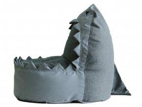 Měkký sedací vak ve tvaru žraloka děti nevyděsí. Alternativa dětského křesílka určená k sezení, povalování se i hraní.
