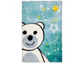 Koberec do dětského pokoje s bílým medvídkem a hvězdami