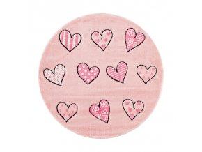 Dětský kulatý koberec - Růžový kruh se srdíčky se skvěle hodí do každého většího i menšího pokojíčku