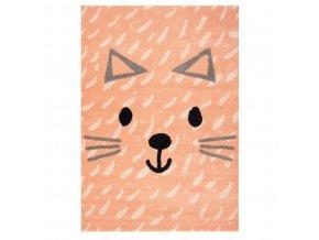 Dětský koberec v broskvové barvě s tváří kočičky rozzáří každý dětský pokojíček
