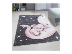 Krásný dětský kusový koberec s růžovým slůnětem si zamiluje každý