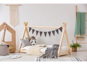 Kvalitní dětská postel z borovice v designu oblíbených teepee, místo pro klidný spánek i denní dětské hry.