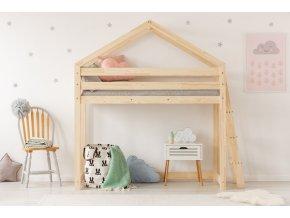 Kvalitní vyvýšená dětská postel z borovice v oblíbeném designu, domeček pro klidný spánek i denní dětské hry.