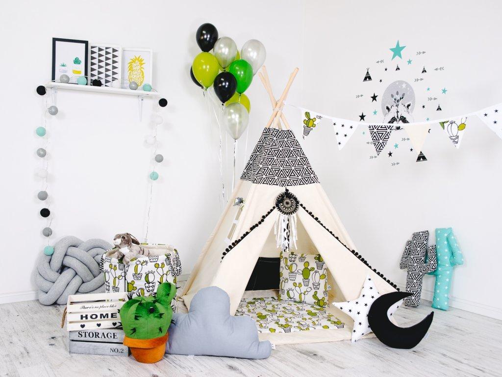 Kaktusz gyerek teepee sátor szett lányoknak és fiúknak