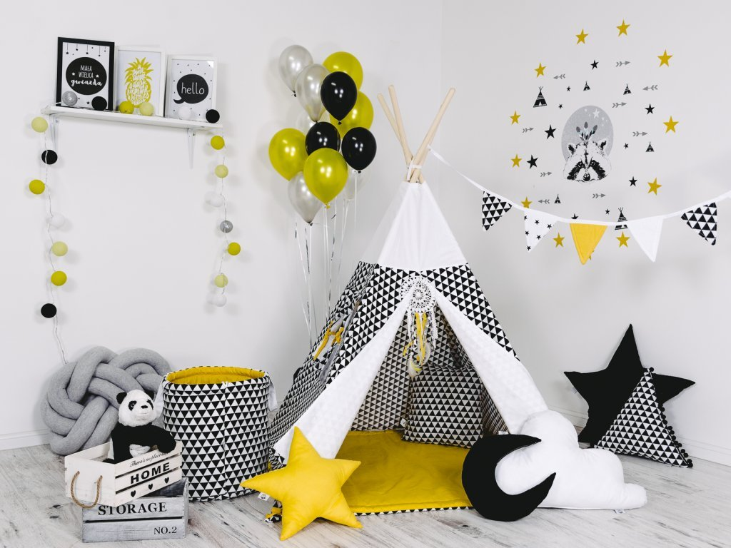 Gyönyörű színkombináció a Sugár teepee gyerek sátron