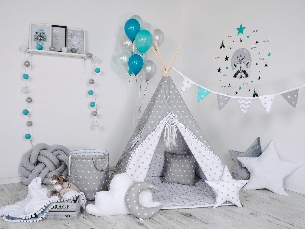 Szürke sátor csillagokkal a gyerekszobába