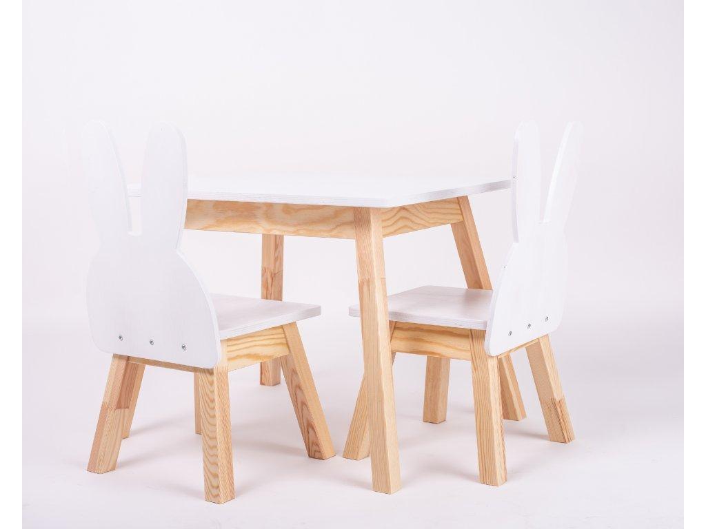 Állítható gyerekbútor szett (asztal + 2 szék) nyuszi