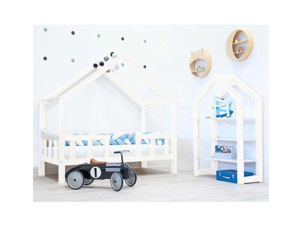 Domináns házikó ágy prémium leesésgátlóval - fehér
