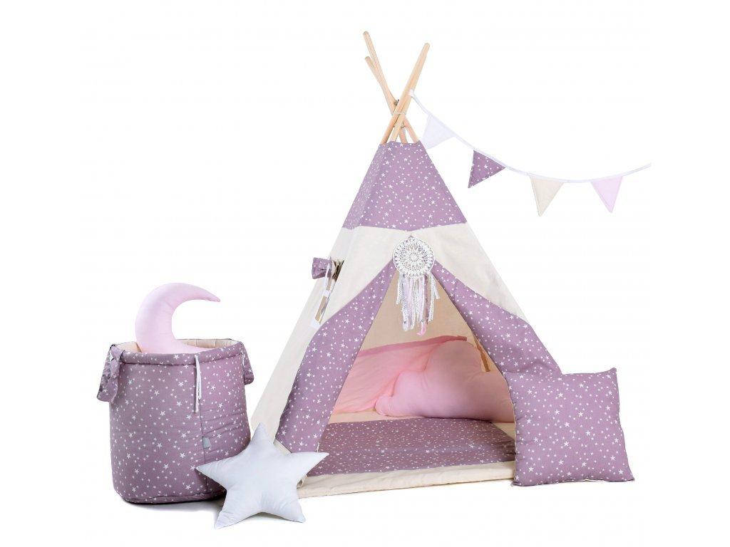 A lilás álom teepee sátor a kislányok otthonos házikójává és rejtekhelyévé válik nemcsak otthon, hanem a kertben is