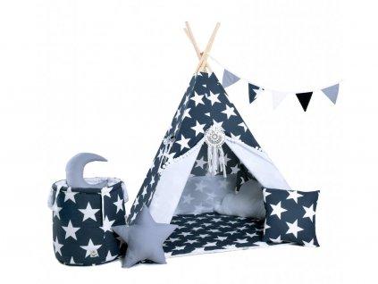A csillagos ég gyerek teepee (sátor) szett házikóvá, bunkerré, rejtekhellyé, kalandokkal és pihenéssel teli kis kuckóvá válik