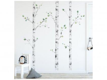 A három nyírfa falmatrica  a természet friss érintését hozza a szobába.